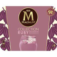 Magnum Ruby Bâtonnet glacé chocolat blanc avec sauce framboise x4- 288g