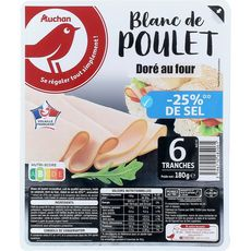 Auchan Blanc de poulet doré au four -25% de sel  6 tranches-180g