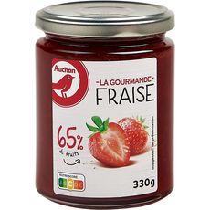 AUCHAN La gourmande Confiture de fraise 65% de fruits 330g