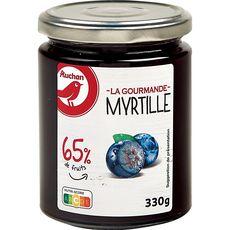 AUCHAN La gourmande confiture à la myrtille 65% de fruits 330g