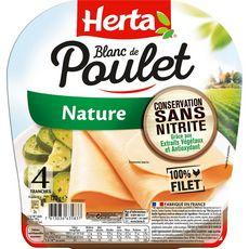 HERTA Blanc de Poulet nature sans nitrite 4 tranches 120g