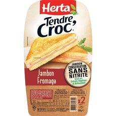 HERTA Croques à poêler au jambon sans nitrite et fromage 2 pièces 200g