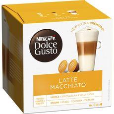 DOLCE GUSTO Capsules de café latte macchiato 8 café+8 lait 183,2g