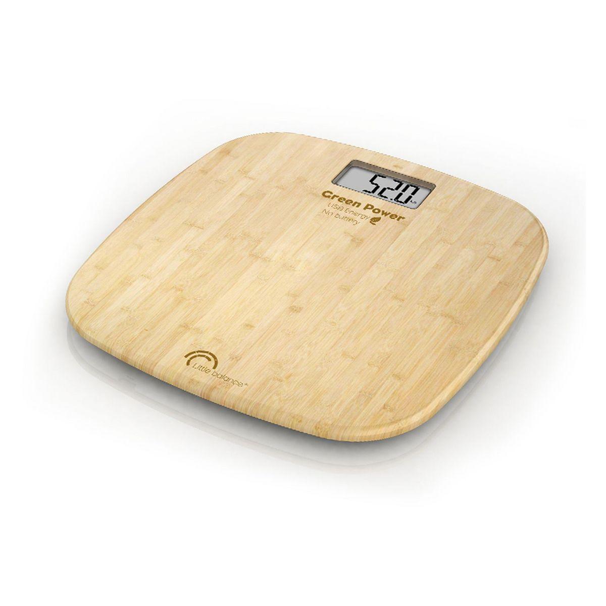 Pèse personne sans pile à chargement USB 8228 - Bambou