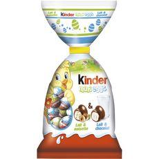 KINDER Mini eggs assortiment d'œufs en chocolat lait noisettes et lait chocolat 250g
