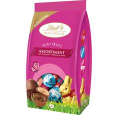 LINDT Assortiment mini œufs chocolat praliné, fondant, noir 180g