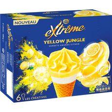 Extrême Yellow Jungle Cône sorbet ananas et citron x6-429g