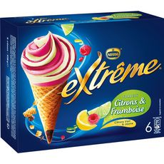 Extrême Cône glacé sorbet citron et framboise x6 -444g