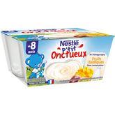 Nestlé Nestlé P'tit onctueux pot dessert fromage blanc aux fruits dès 8mois 4x100g