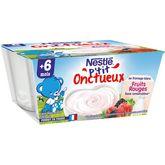 Nestlé Nestlé P'tit onctueux pot fromage blanc fruits rouges dès 6 mois 4x100g