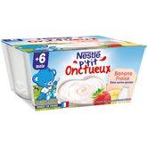 Nestlé Nestlé P'tit onctueux pot fromage blanc fraise banane dès 6 mois 4x100g