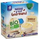 Nestlé Nestlé P'tit gourmand gourde dessert lacté vanille bio dès 8 mois 4x85g