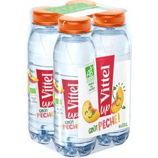 VITTEL UP Eau aromatisée saveur pêche bio bouteilles 4x33cl