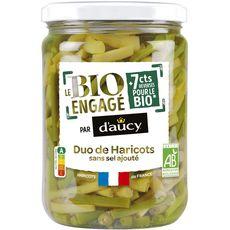 D'AUCY Le bio engagé duo de haricots verts et beurre sans sel ajouté, en bocal 290g