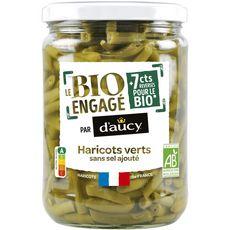D'AUCY Le bio engagé haricots verts au naturel sans sel ajouté, en bocal 290g
