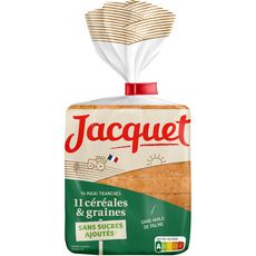 JACQUET Pain de mie 11 céréales et graines x14 maxi tranches 550g