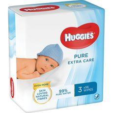 Huggies Pure extra care lot lingettes nettoyantes pour bébé 3x56