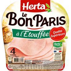 Herta Le Bon Paris Jambon à l'étouffée sans couenne 4 tranches 170g