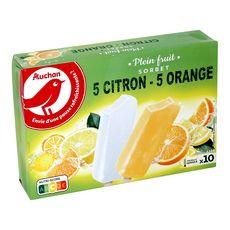 AUCHAN Bâtonnets glacés citron orange 10 pièces 415g