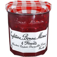 BONNE MAMAN Confiture 4 fruits rouges: fraises, cerises, groseilles et cassis 370g