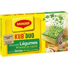 MAGGI Kub duo bouillon de légumes et herbes du marché 10 cubes 105g