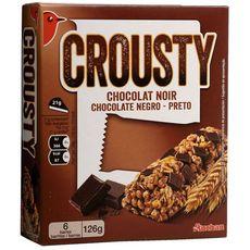 AUCHAN Crousty barres de céréales au chocolat noir 6 barres 126g
