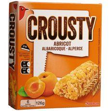 AUCHAN Crousty barres de céréales à l'abricot 6 barres 126g