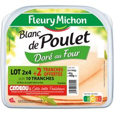 FLEURY MICHON FLEURY MICHON Blanc de poulet 2x4 tranches + 2 offertes 400g 2x4 + 2 offerts 400g