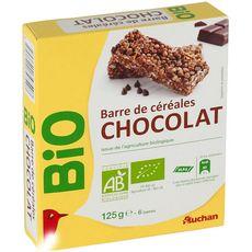 AUCHAN BIO Barre de céréales au chocolat 6 barres 138g
