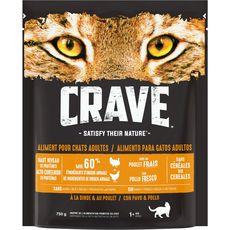 CRAVE CRAVE Croquettes à la dinde et au poulet pour chats adultes 750g 750g