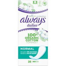 ALWAYS Dailies Protèges-slips en coton bio normal 28 protège-slips