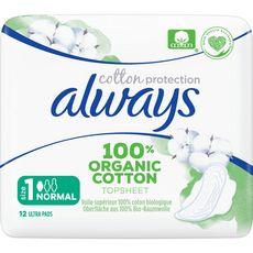 Always ALWAYS Serviettes hygiéniques en coton bio avec ailettes taille1