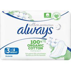 ALWAYS Serviettes hygiéniques en coton bio avec ailettes nuit taille 3 9 serviettes