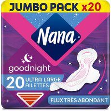 NANA Secure Fit serviettes hygiéniques nuit avec ailettes 20 serviettes