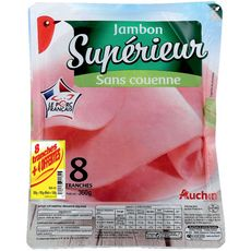 AUCHAN Jambon supérieur sans couenne 8 tranches + 4 offertes 540g