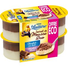 LA LAITIERE La Laitière secret de mousse duo chocolat 4x59g