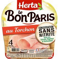 HERTA Jambon au torchon sans nitrite sans couenne 4 tranches 140g
