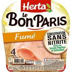 Herta Le Bon Paris jambon fumé sans nitrite 4 tranches 140g