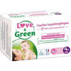 LOVE ET GREEN Couches écologiques taille 4+ (9-20kg) 42 couches