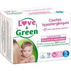 LOVE ET GREEN Couches écologiques taille 5 (12-25kg) 40 couches