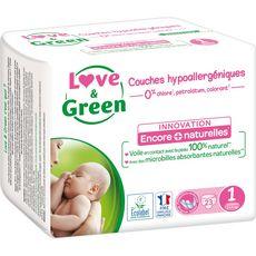 LOVE ET GREEN Couches écologiques taille 1 (2-5kg) 23 couches