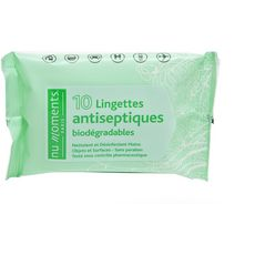 NU MOMENTS PARIS Lingettes antiseptiques biodégradables 10 lingettes