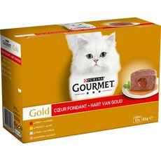 GOURMET Gold coeur fondant barquettes poissons viandes pour chat 12x85g