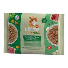 ULTIMA Nature sachets repas pâtée à l'agneau et lapin pour chat 4x85g