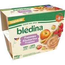 BLEDINA Petit pot dessert pomme rhubarbes et fraises dès 8 mois 4x100g