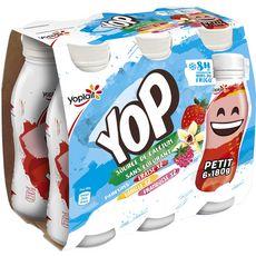 PTIT YOP Yaourt à boire à la fraise, vanille et framboise 6x180g
