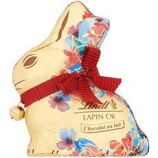 LINDT Lapin chocolat au lait décor fleurs 100g
