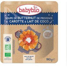 Babybio BABYBIO Bol soupe butternut carotte lait de coco bio dès 6 mois