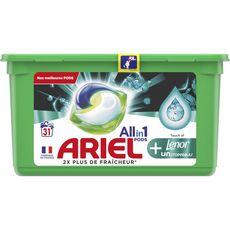 Ariel Pods lessive capsules écodoses Lenor unstoppables 31 lavages
