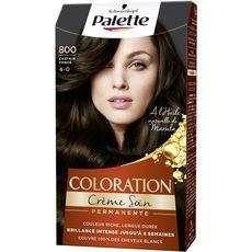 PALETTE Coloration crème soin permanente 800 châtain foncé 3 produits 1 kit